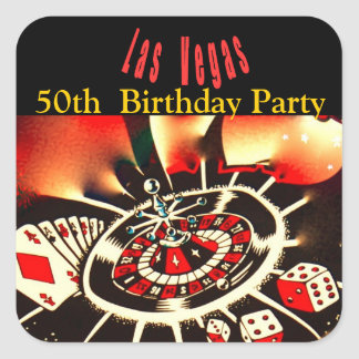 Las Vegas Casino Theme Birthday Party Square Sticker