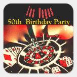 Las Vegas Casino Theme Birthday Party Square Stickers