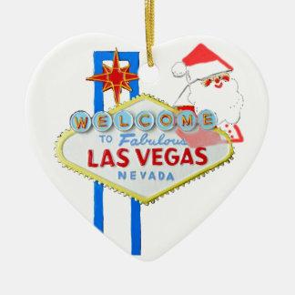 Las Vegas Christmas Ceramic Heart Decoration