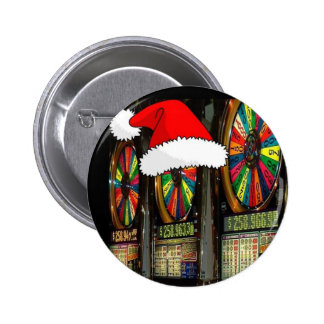 Las Vegas Christmas Slots 6 Cm Round Badge
