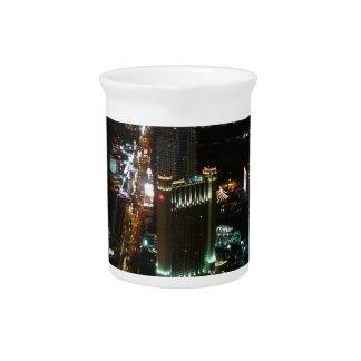 Las Vegas City Night Light Lights Sea Of Light Pitcher