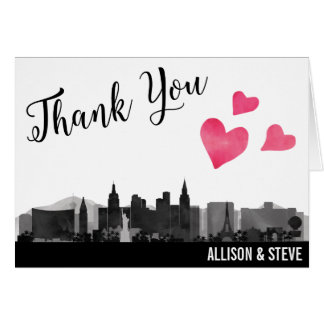 Las Vegas City Skyline Wedding Thank You Card
