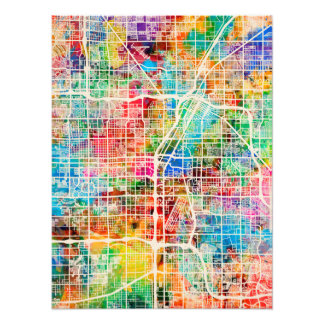 Las Vegas City Street Map Photo Print