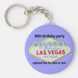 Las Vegas Custom Birthday Party 40th Basic Round Button Key Ring