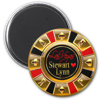 Las Vegas Deluxe Gold & Red Casino Chip Favor 6 Cm Round Magnet