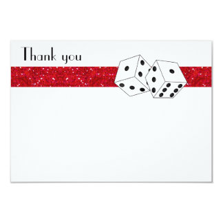 Las Vegas Dice Theme Flat Thank You Red 9 Cm X 13 Cm Invitation Card