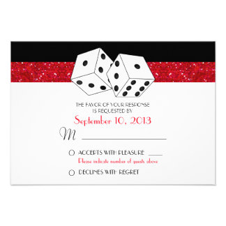 Las Vegas Dice Theme RSVP Ruby Red Faux Glitter Invites
