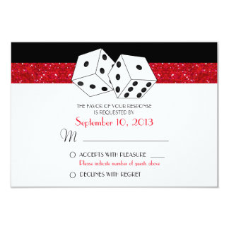 "Las Vegas Dice Theme RSVP Ruby Red Faux Glitter 3.5"" X 5"" Invitation Card"