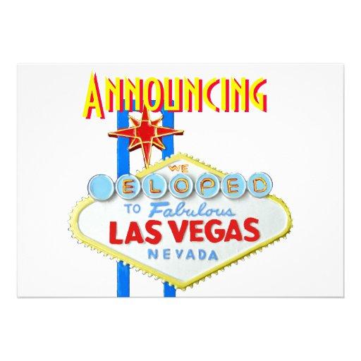 Las Vegas Eloped Wedding Announcement