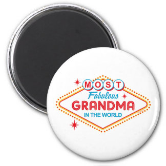 Las Vegas Fabulous Grandma 6 Cm Round Magnet