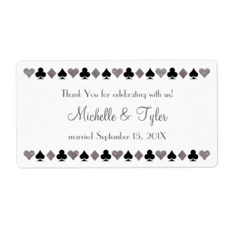Las Vegas Faux Silver Glitter Black Favor Label Shipping Label