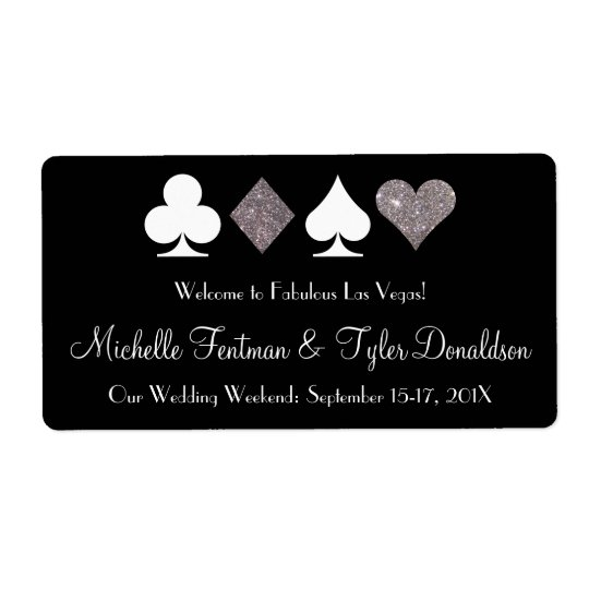 Las Vegas Faux Silver Glitter Welcome Bag Label Shipping Label