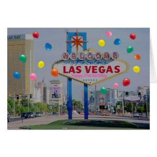 Las Vegas Happy 21st Birthday Card in Pink