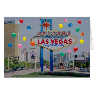 Las Vegas Happy 50th Birthday Card  in Blue