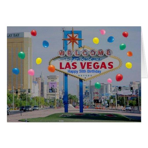 Las Vegas Happy 50th Birthday Card  in Blue