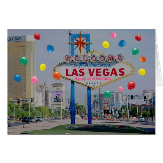Las Vegas Happy 50th Birthday Card in Pink