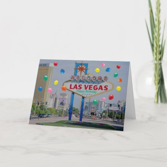 Las Vegas Happy Birthday Card With Balloons
