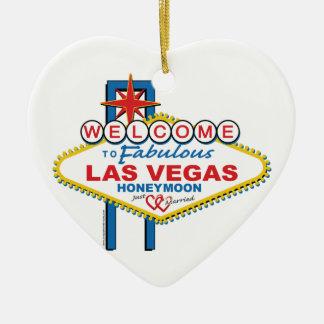 Las Vegas Honeymoon Ceramic Heart Decoration