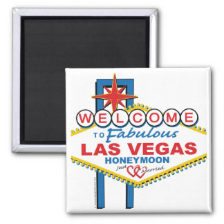 Las Vegas Honeymoon Square Magnet