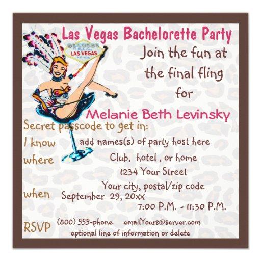 Las vegas leopard fur bachelorette party 5 25 quot square invitation card