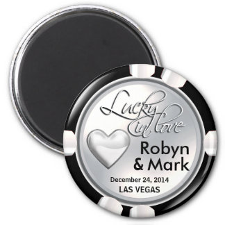 Las Vegas Lucky in Love Casino Chip white 6 Cm Round Magnet