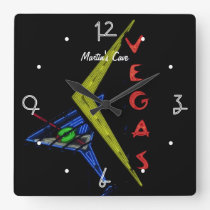 Las Vegas Mancave personalised Neon Sign Square Wall Clock