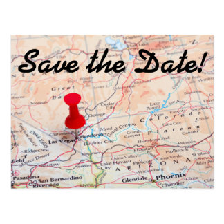 Las Vegas Map Pin Save the Date Postcard