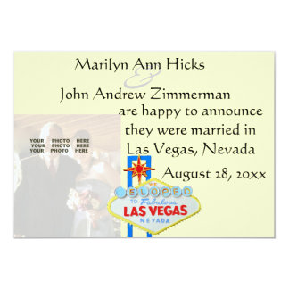 Las Vegas Marriage Announcement with wedding photo