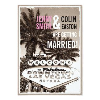 Las Vegas Modern Vintage Sepia Wedding Invites