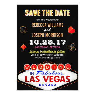 Las Vegas Neon Sign - Save the Date Wedding Magnetic Card