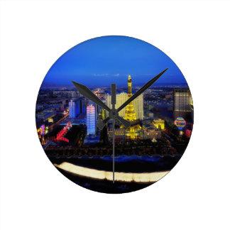 Las Vegas Nevada City Cities Urban Night Evening Round Clock