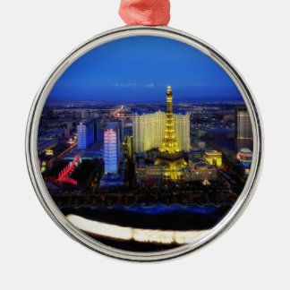 Las Vegas Nevada City Cities Urban Night Evening Silver-Colored Round Decoration