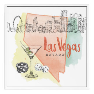 Las Vegas, Nevada | Watercolor Sketch Image Acrylic Wall Art
