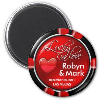 Las Vegas Newlyweds Casino Chip Magnet Favor