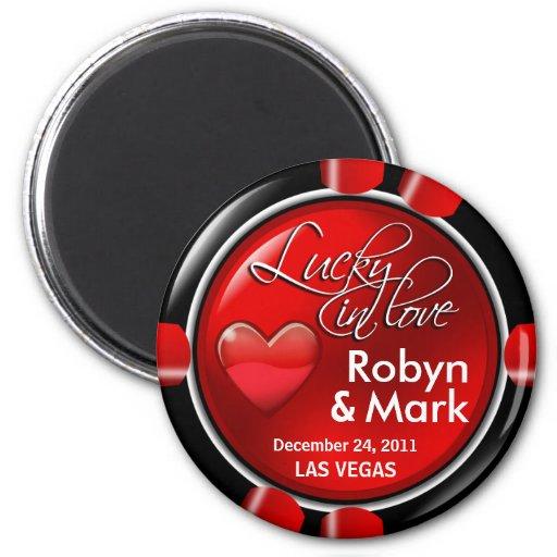 Wedding poker chip magnets