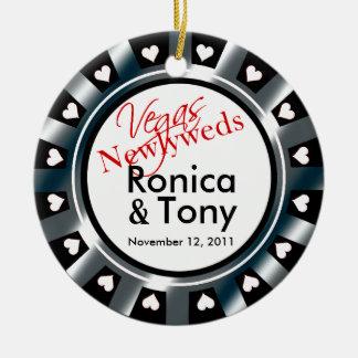 Las Vegas Newlyweds Casino Chip Photo Christmas Ornament