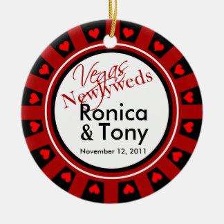Las Vegas Newlyweds Casino Chip Photo Round Ceramic Decoration