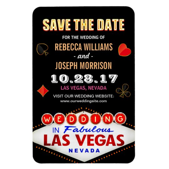 Las Vegas Night Neon Sign - Save the Date Wedding Rectangular Photo Magnet