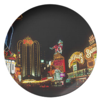 Las Vegas Night Time Neon Lights Casinos Sign Plate