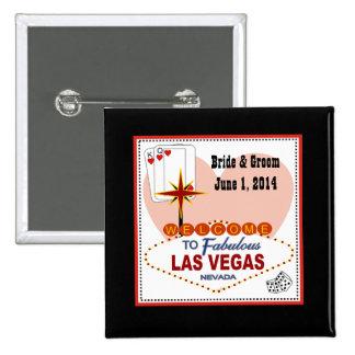 Las Vegas Pair of Hearts Bride & Groom Button