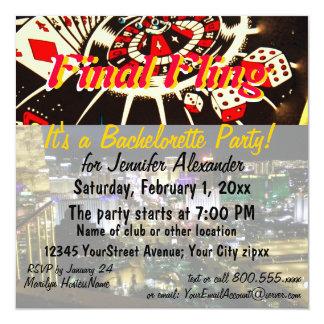 Las Vegas Party Final Fling 13 Cm X 13 Cm Square Invitation Card