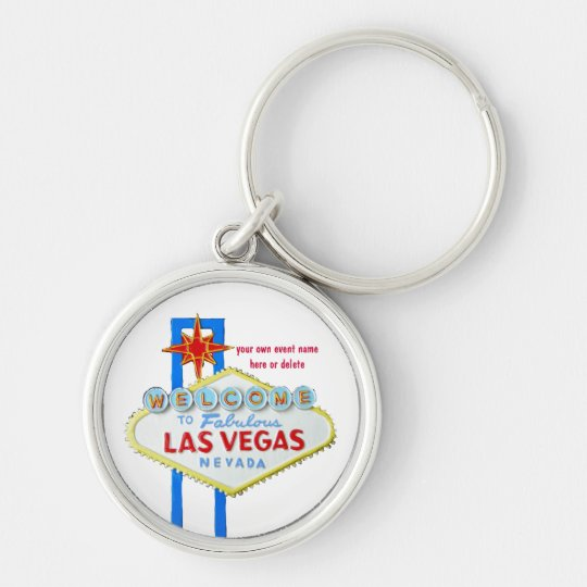 Las Vegas Personalised Event Silver-Colored Round Key Ring