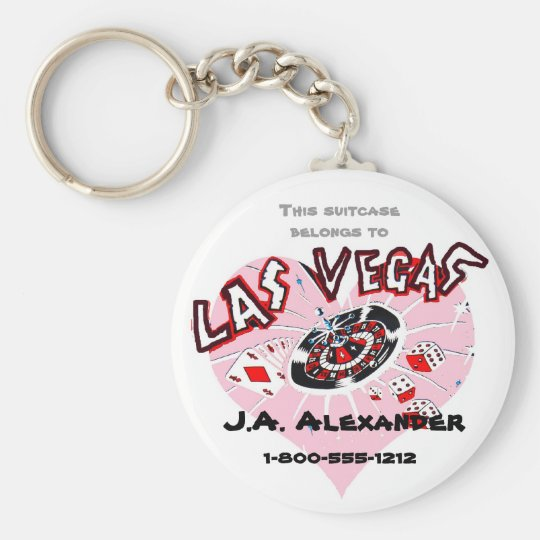 Las Vegas Pink Heart Baggage I.D. Basic Round Button Key Ring