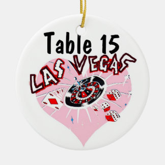 Las Vegas Pink Hearts Assigned Seating Table Round Ceramic Decoration