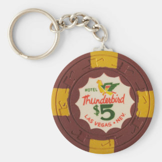 Las Vegas Poker Chip Casino Gambling Obsolete Basic Round Button Key Ring