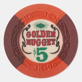 Las Vegas Poker Chip Casino Gambling Obsolete Round Sticker