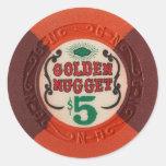 Las Vegas Poker Chip Casino Gambling Obsolete Round Stickers