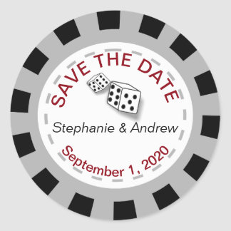 Las Vegas Poker Chip Save The Date Stickers