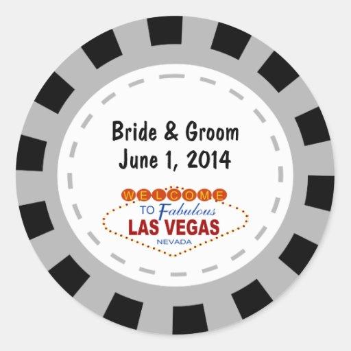 Las Vegas Poker Chip Wedding Stickers