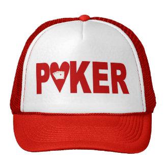 Las Vegas POKER Player Lucky Cap Hearts Mesh Hats